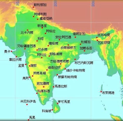印度半岛地图地形图